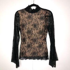 BCBG Maxazria Black Lace Bell Sleeves Goth Top